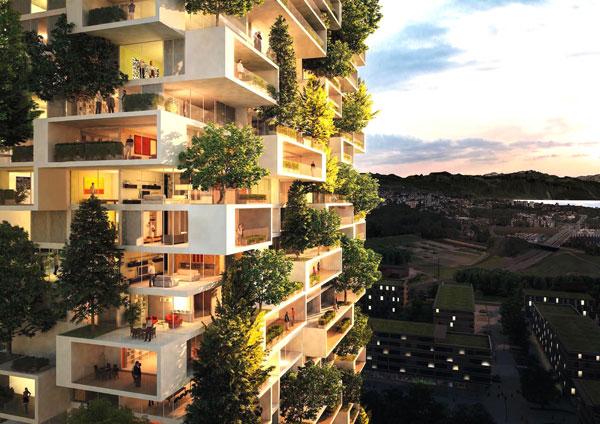 Các tòa cao ốc dự án Sun Premier Condotel Da Nang Heritage được bao bọc bởi những bụi cây xanh độc đáo