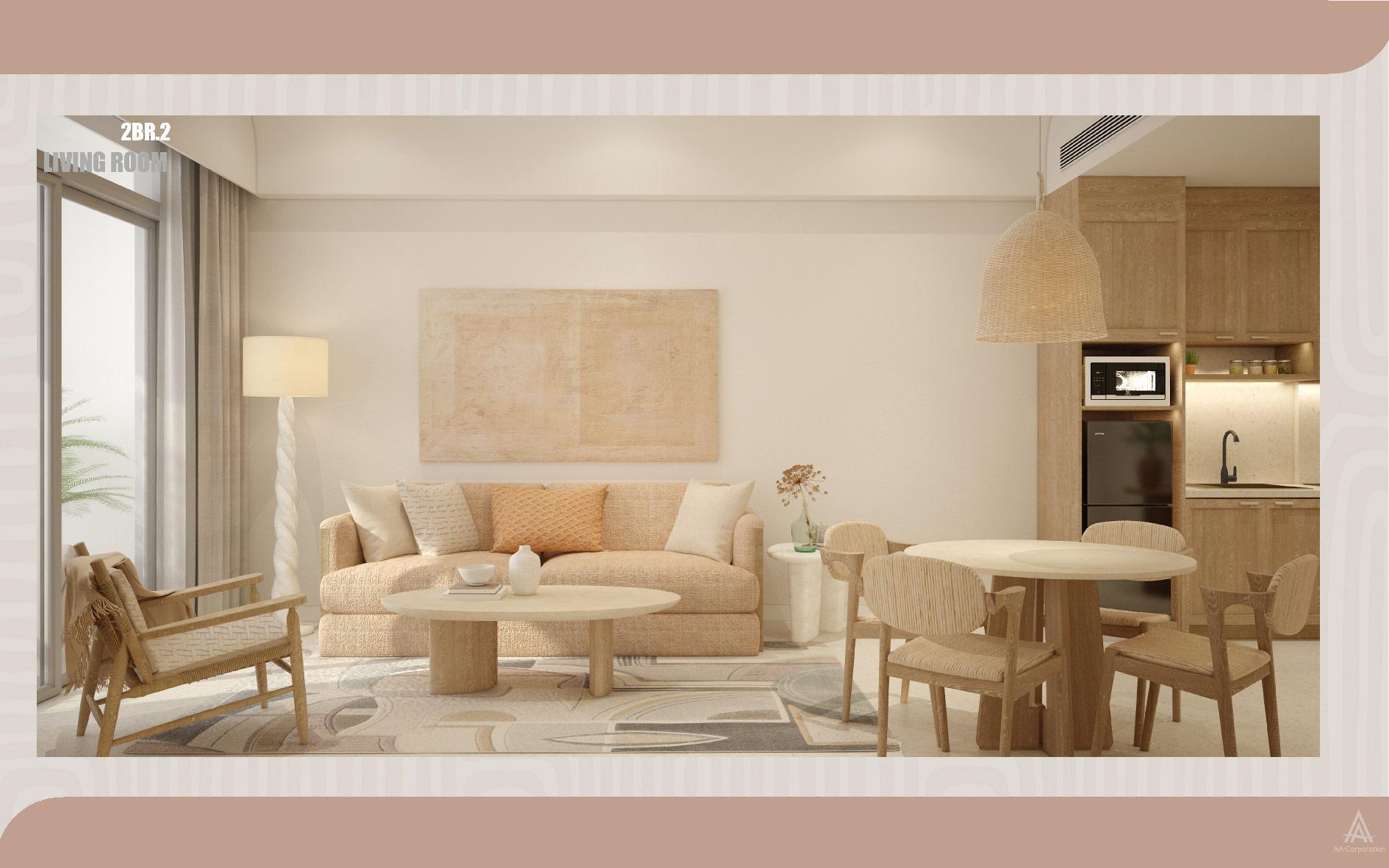 Concept Santorini căn 2 phòng ngủ thuộc phân khu The Hill