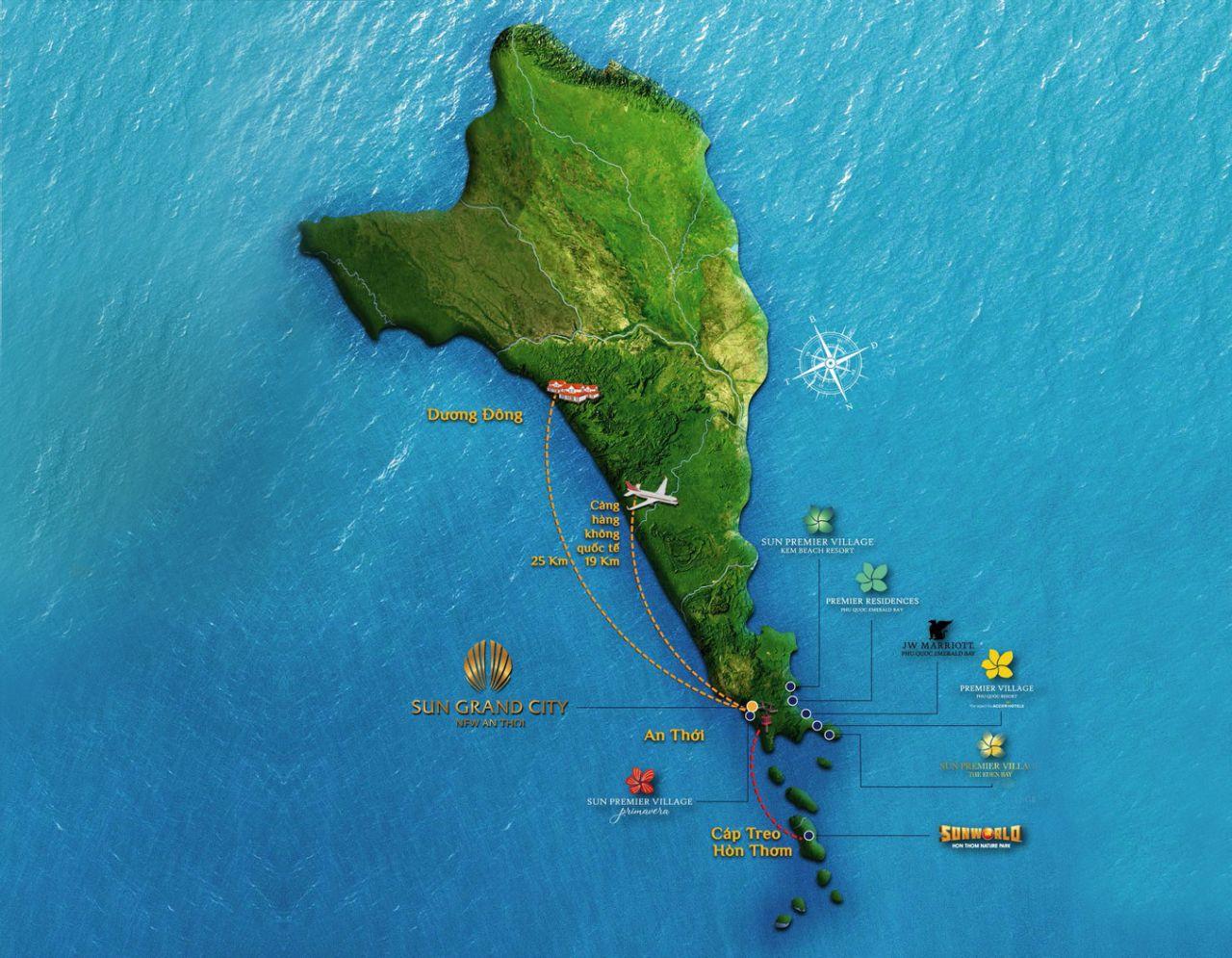 Bản đồ vị trí địa lý dự án Sun Grand City Nam Phú Quốc