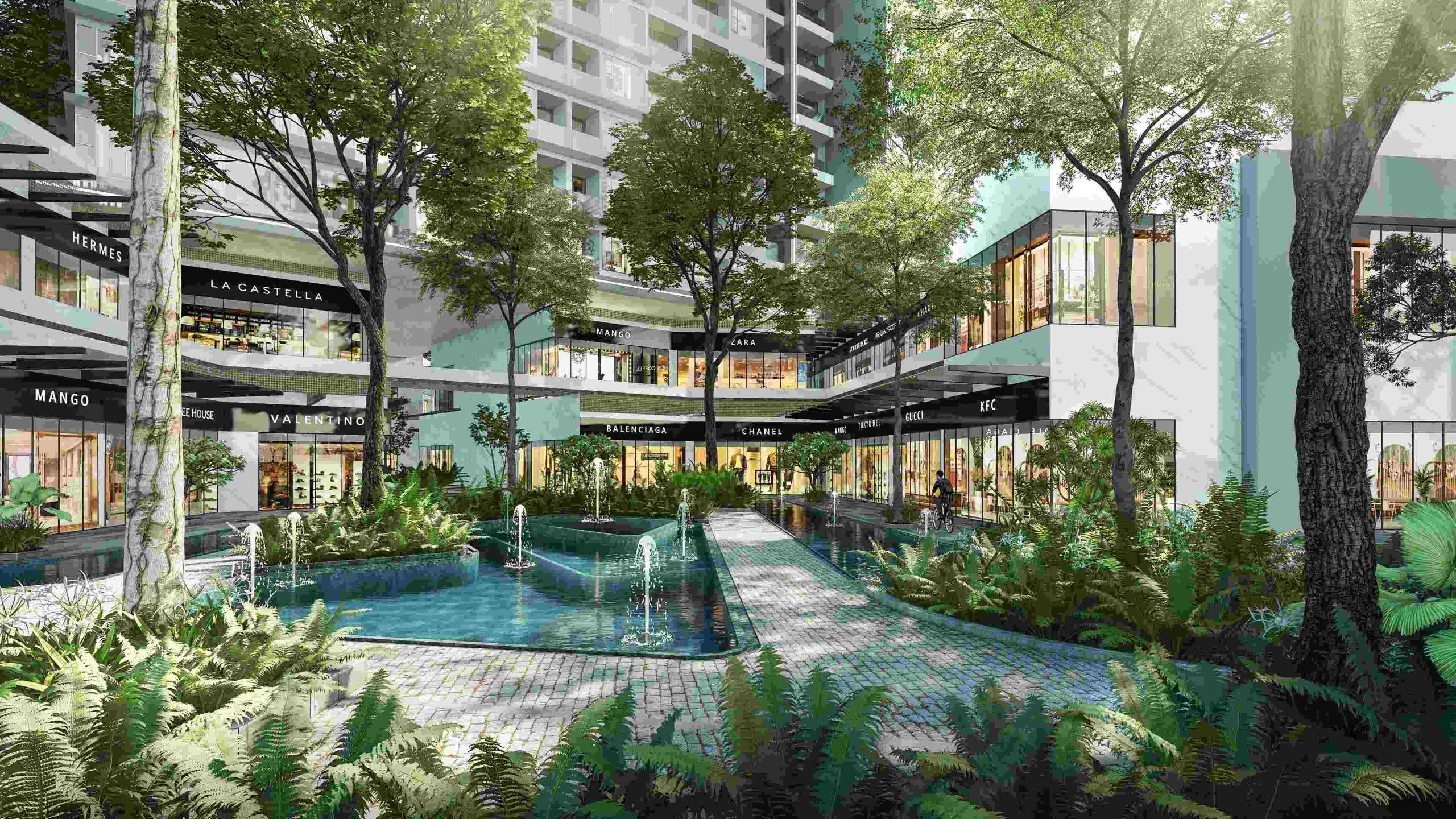 Khu shopping - ẩm thực - mua sắm trong công viên ngay dưới chân Haven Park