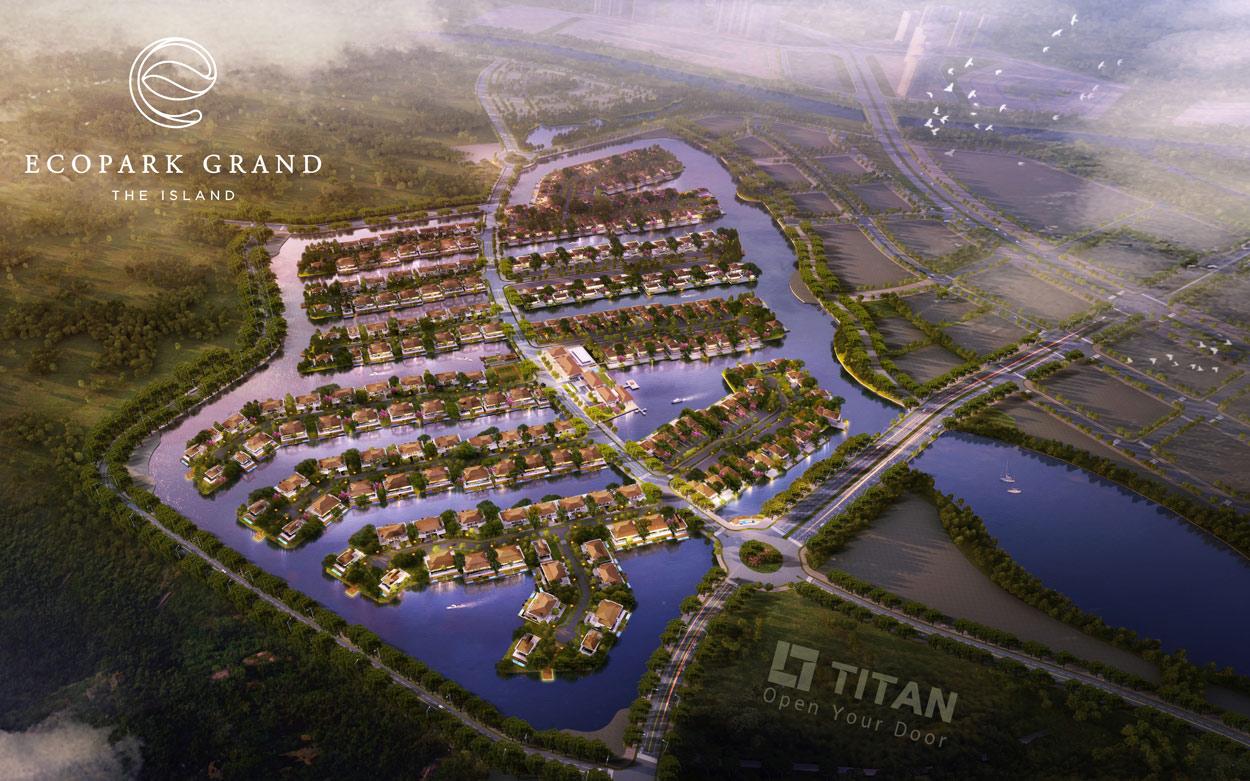 Các căn biệt thự đảo Ecopark Grand The Island được xây dựng trên những nhánh đảo vươn ra giữa vịnh hồ