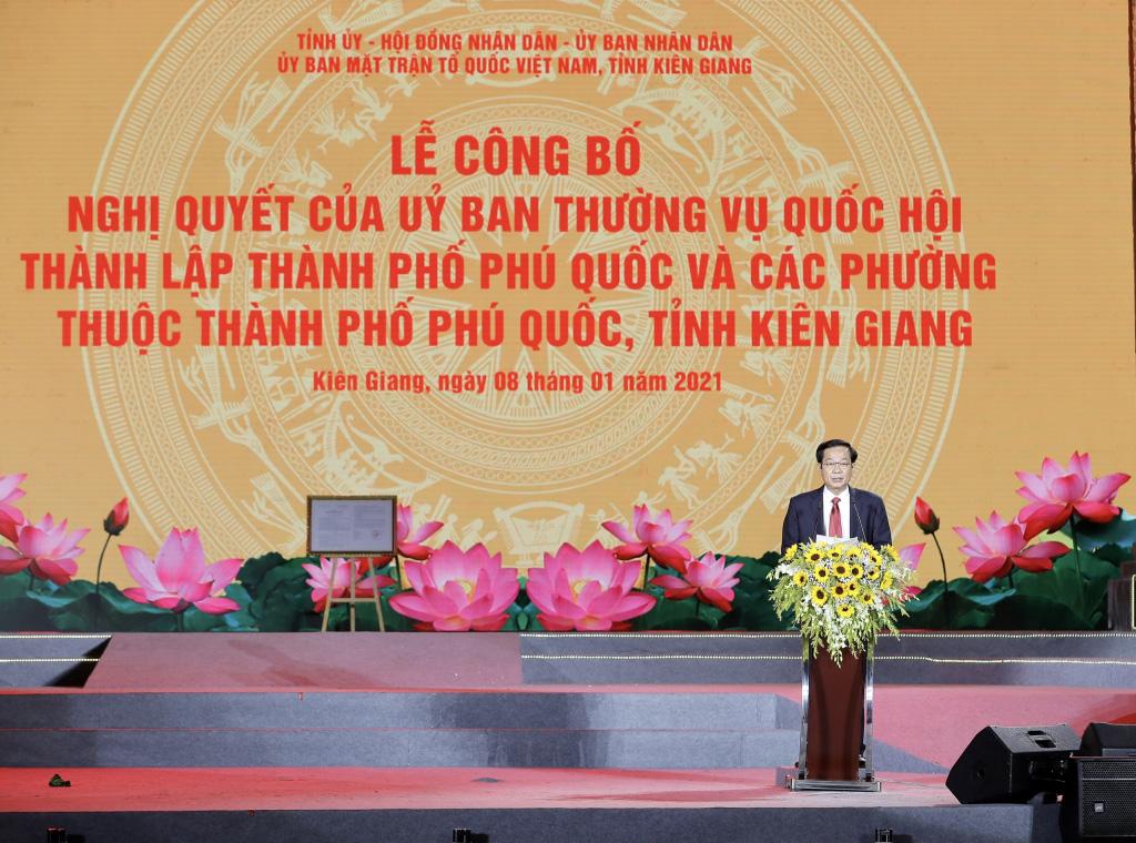 Phú Quốc trở thành Thành phố đảo đầu tiên của Việt Nam tạo tiền đề xây dựng phát triển kinh tế, xã hội