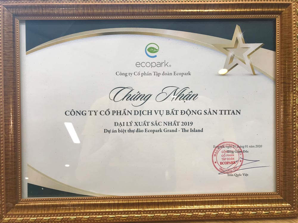Những giải thưởng danh giá của Titan Group tại Ecopark trong 2 năm liên tiếp