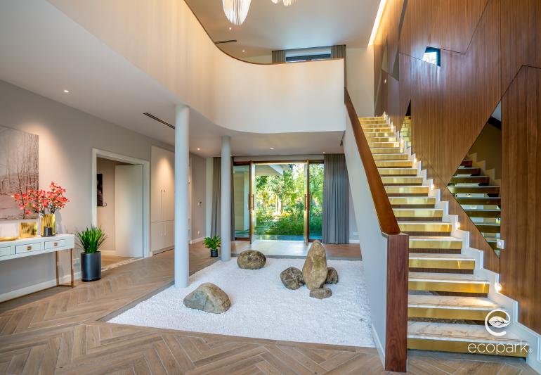 Các chi tiết decor được tinh giản tối đa mang tới không gian rộng thoáng và có chiều sâu