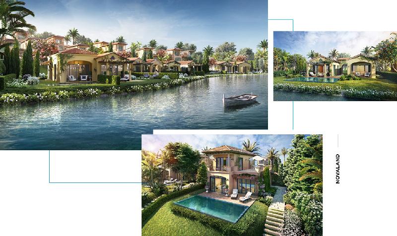 Biệt thự NovaBeach Cam Ranh mang kiến trúc Tây Ban Nha Phục Hưng kết hợp địa thế hồ, đồi và ven biển tạo nên vẻ đẹp độc đáo