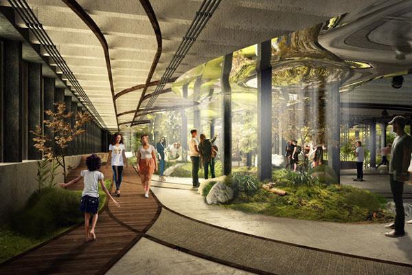 Sảnh check-in đón khách và giao thông được làm dưới hầm B1 tái hiện lại thế giới dưới lòng đất của Singapore