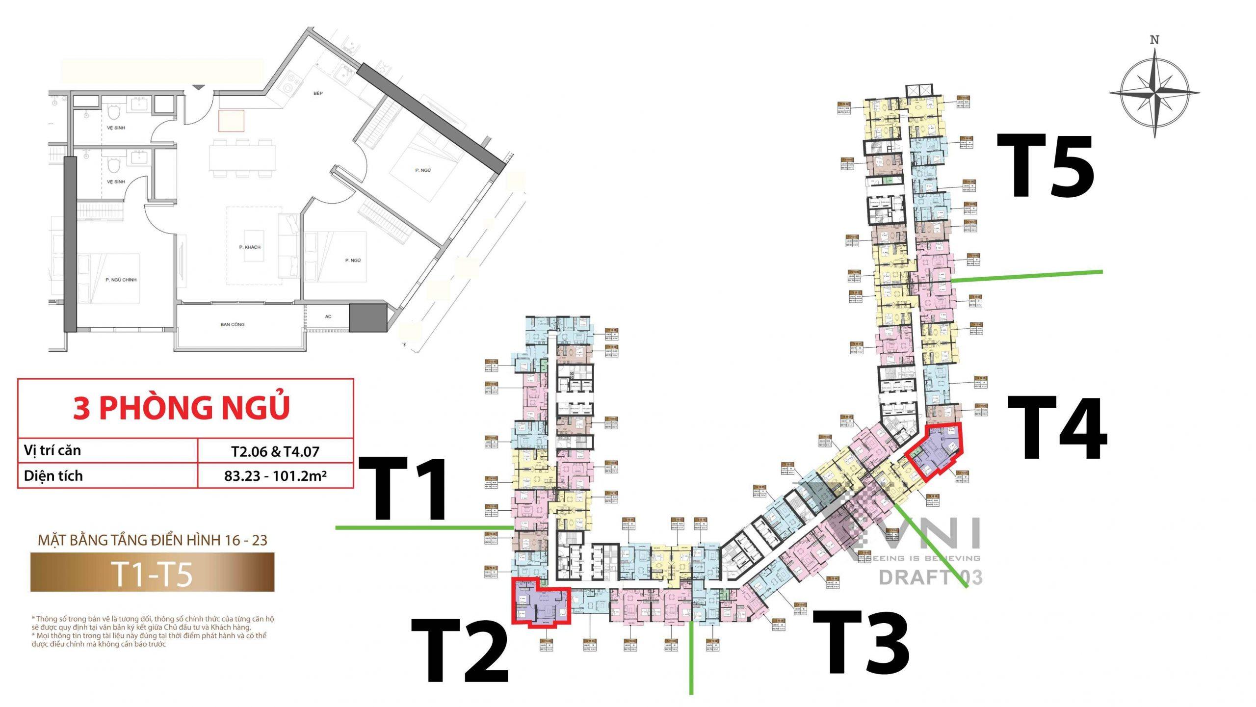 Mặt bằng và vị trí các căn hộ 3 phòng ngủ tầng 16-23