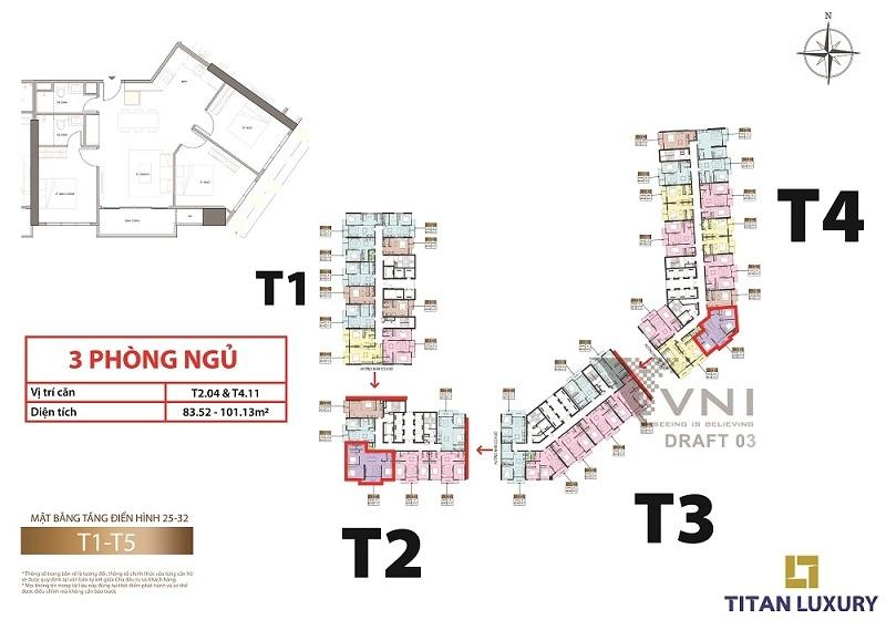 Mặt bằng và vị trí các căn hộ 3 phòng ngủ tầng 25-32