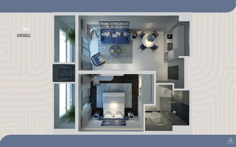 Thiết kế nội thất căn hộ The Hill mang hơi thở Địa Trung Hải