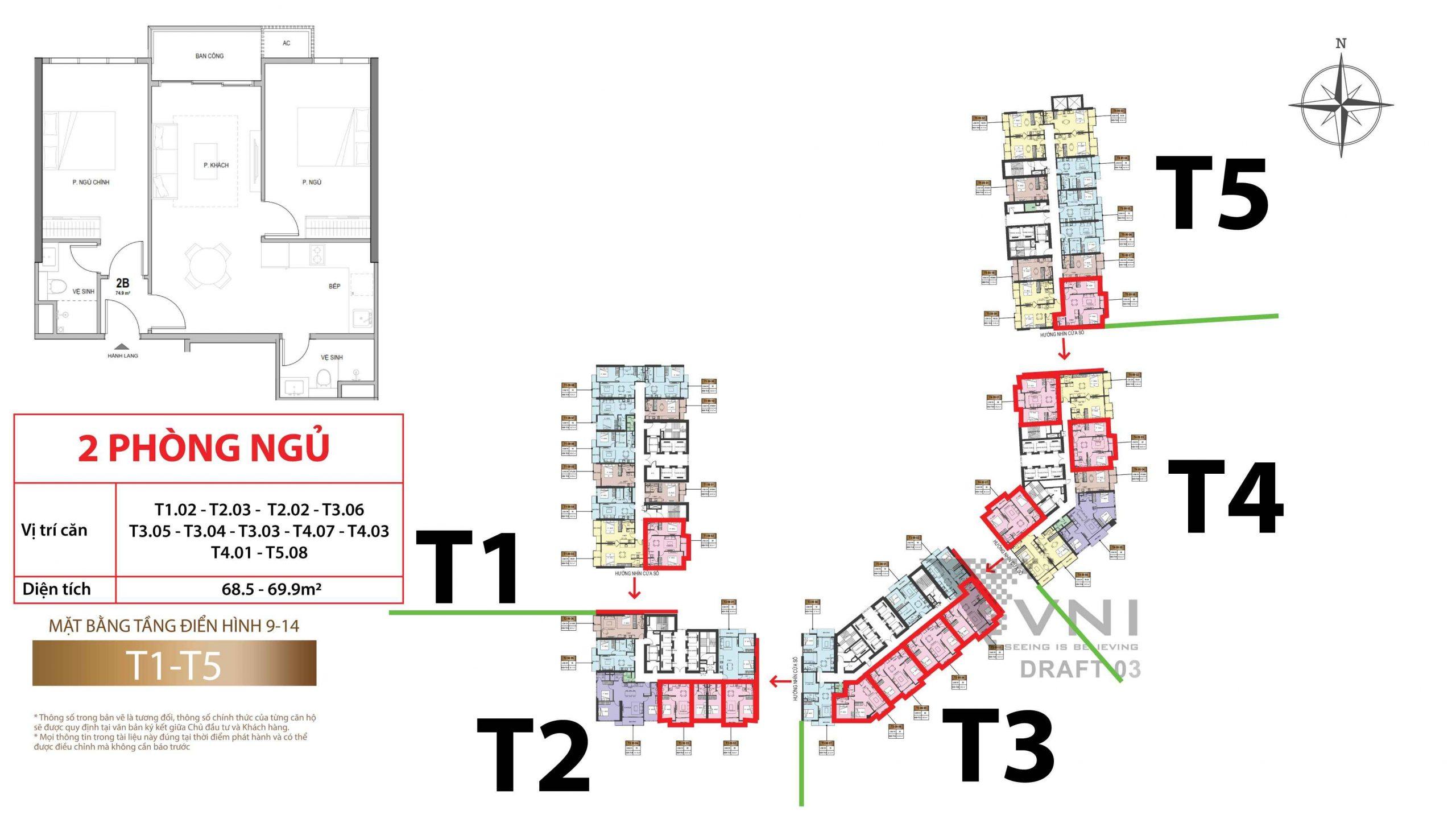 Mặt bằng và vị trí các căn hộ 2 phòng ngủ tầng 9-14