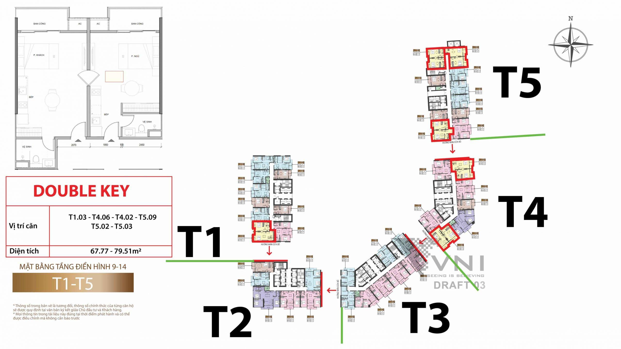 Mặt bằng và vị trí các căn hộ studio tầng 9-14