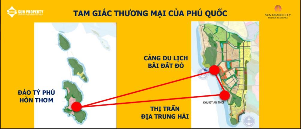 tam giác thương mại đảo Hòn Thơm, thị trấn Địa Trung Hải và bãi Đất Đỏ mũi nhọn phát triển đảo Ngọc