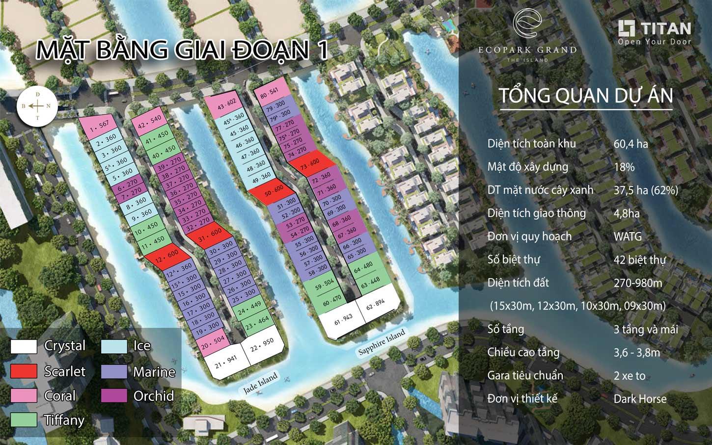mặt bằng đánh số giai đoạn 1 dự án Ecopark Grand The Island