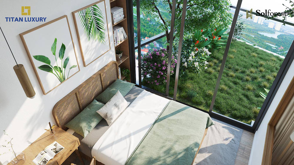 Phòng ngủ có ban công như một sân vườn tại Sol Forest