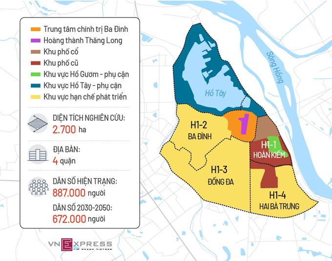 Bản đồ quy hoạch phân khu các quận nội đô khi có dự án Hà Nội di dân 4 quận nội thành (Nguồn ảnh VNexpress