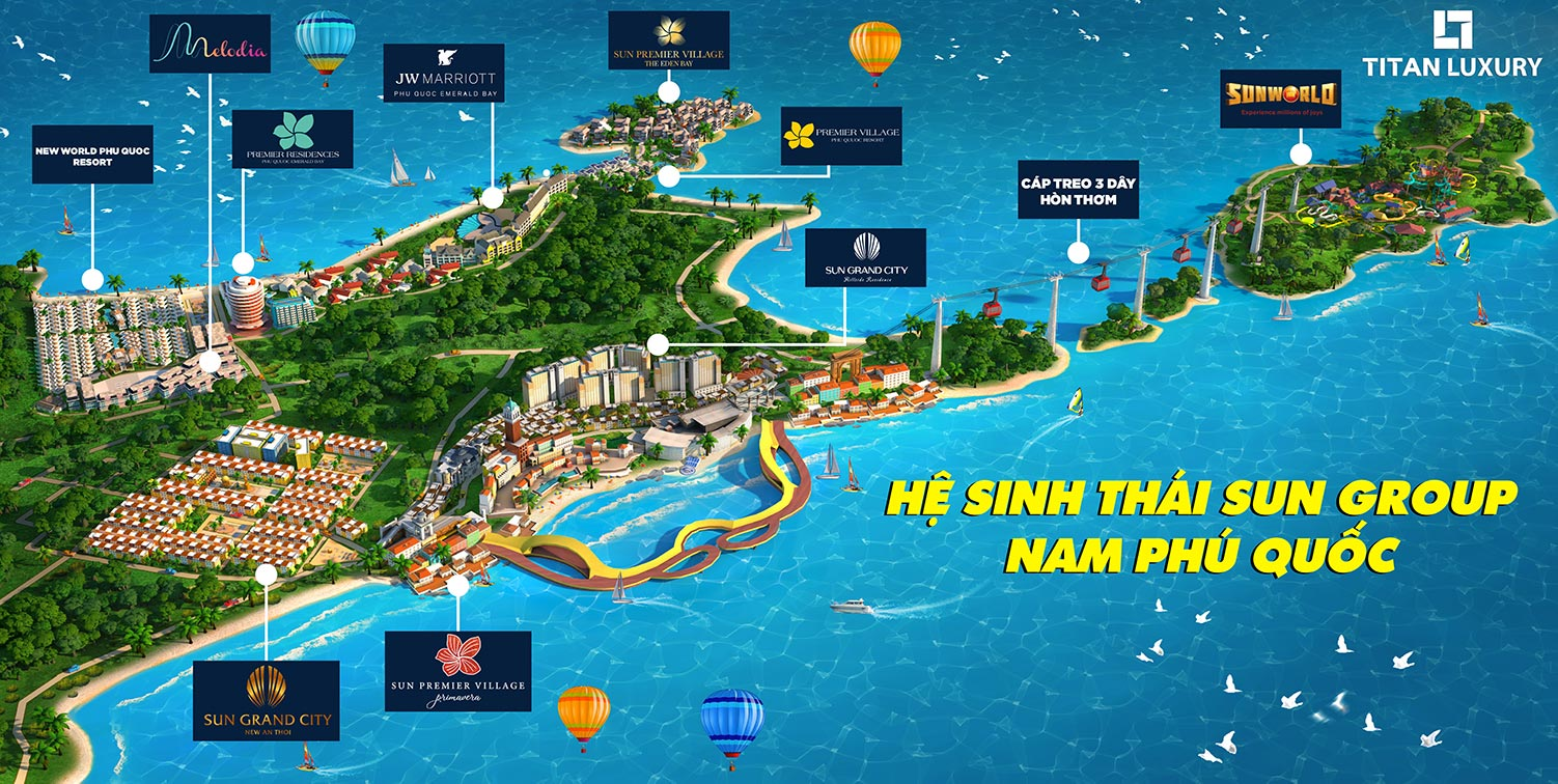 Phối cảnh hệ sinh thái Sun Group tại Nam Phú Quốc