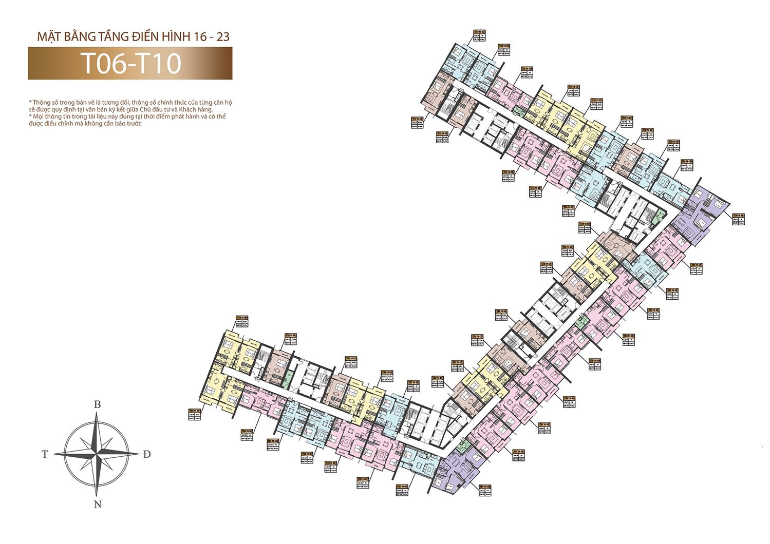 Mặt bằng tầng điển hình 16 - 23 Sun Marina tòa tháp B