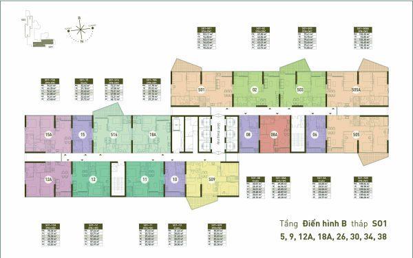 Mặt bằng Tầng điển hình B Toà s01 - chung cư Sol Forest Ecopark