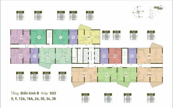 Mặt bằng Tầng điển hình B Toà s02 - chung cư Sol Forest Ecopark