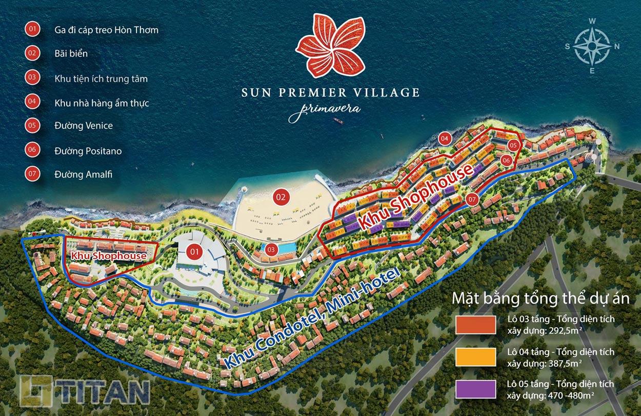mặt bằng quy hoạch tổng thể đổ màu chia lô dự án Mini-hotel Địa Trung Hải Phú Quốc chính thức được từ chủ đầu tư Sun Group