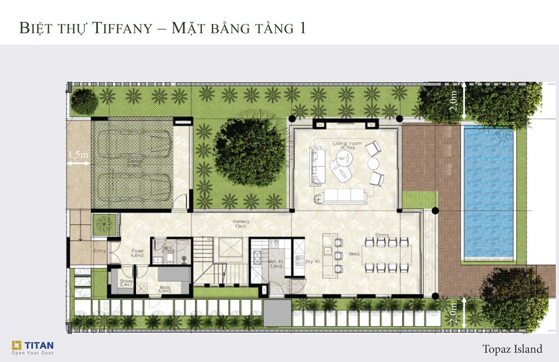 Biệt thự Tiffany Topaz - Mặt bằng tầng 1