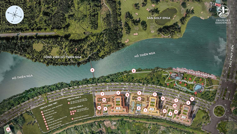 Mặt bằng tiện ích dự án Swan Lake Onsen Ecopark