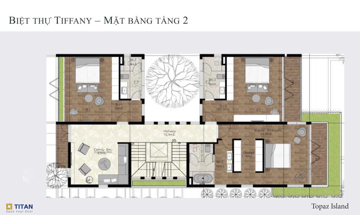 Biệt thự Tiffany Topaz - Mặt bằng tầng 2