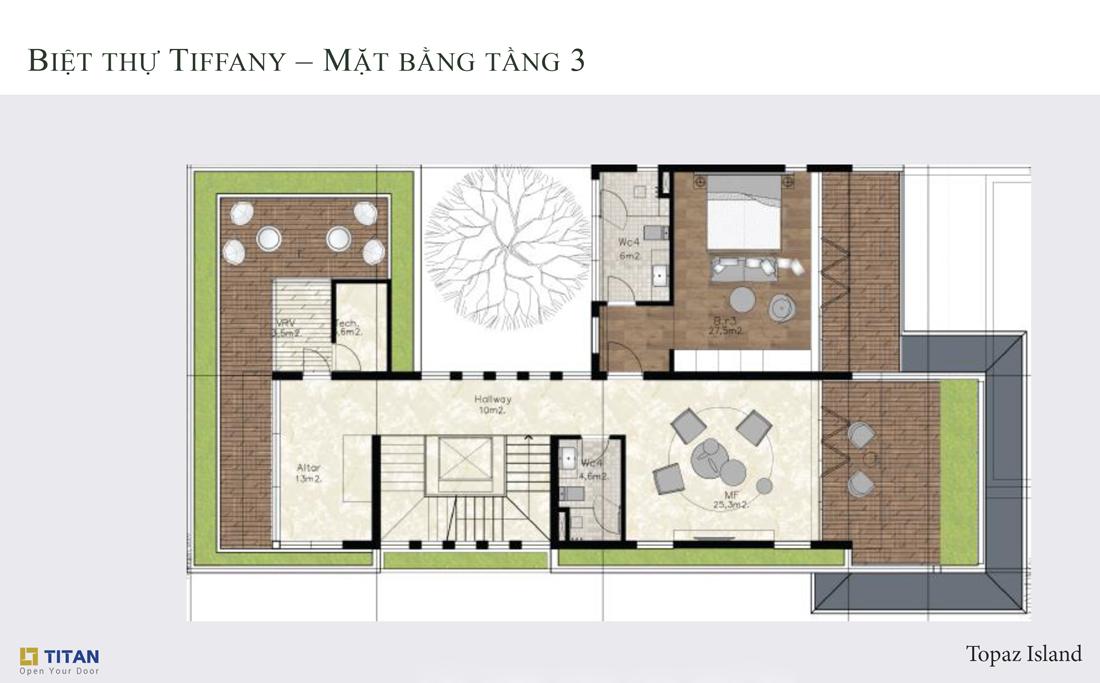 Biệt thự Tiffany Topaz - Mặt bằng tầng 3
