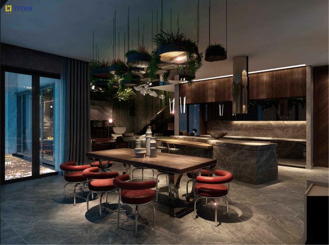 Nhà bếp lắp đặt tủ bếp, đảo bếp thương hiệu Arclinea nhập khẩu nguyên kiện từ Italy. Đặc biệt bàn ăn thương hiệu Calligaris có thiết kế kính giúp chân bàn ăn dường như vô hình, mặt bàn gỗ nguyên tấm cho cả không gian căn nhà trở nên thanh thoát, đảm bảo tầm nhìn panorama của gia chủ xuyên suốt không gian