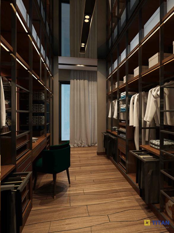 Phòng Master - Closet được bố trí giữa không gian phòng Master, diện tích lớn và được trang bị hệ thống tủ kệ lớn và bàn trang điểm, đủ sức chứa cả bộ sưu tập thời trang