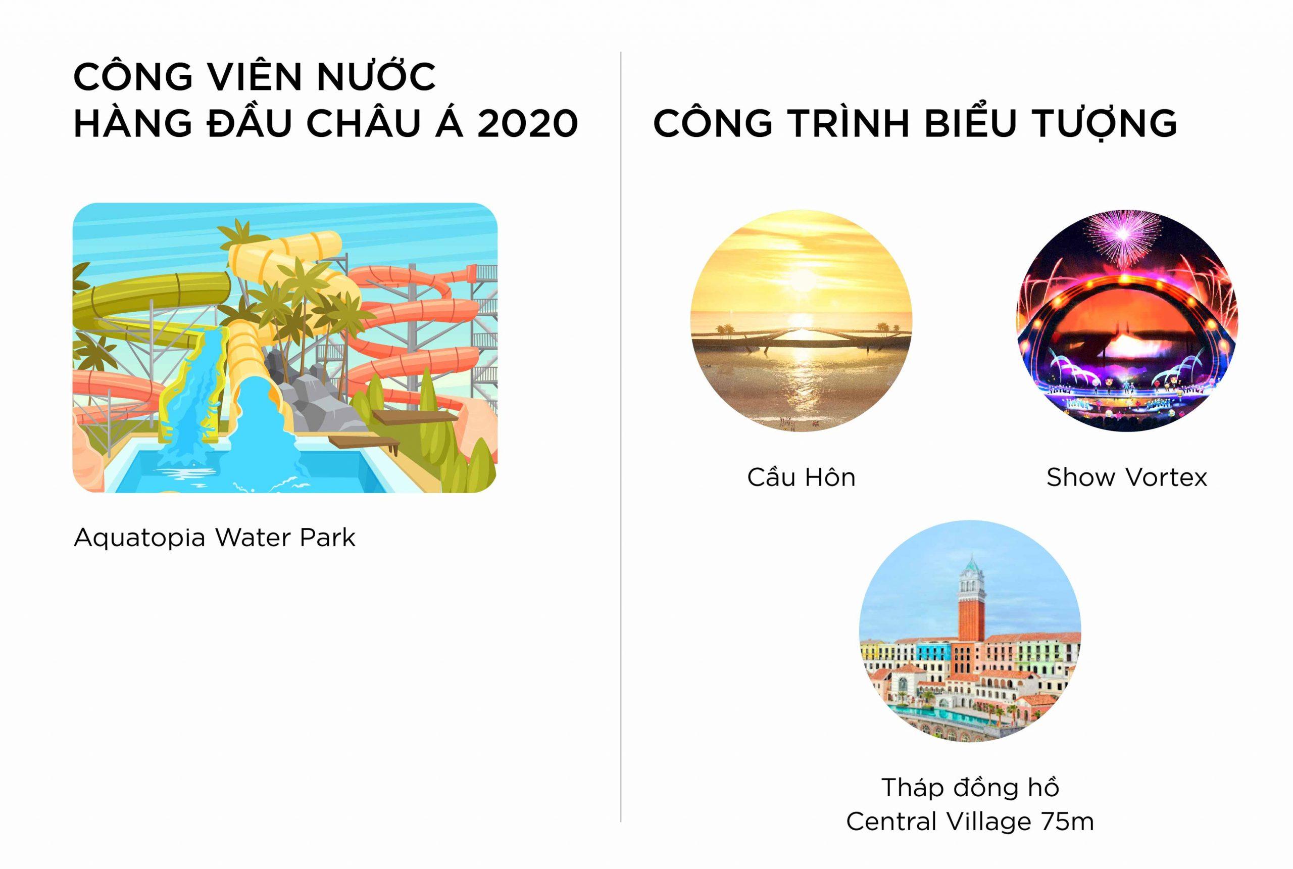 Nam Phú Quốc sở hữu những công trình biểu tượng vươn tầm thế giới như tháp Đồng Hồ, cầu Hôn và show trình diễn công nghệ đỉnh cao Vortex thu hút hàng triệu du khách tới check-in