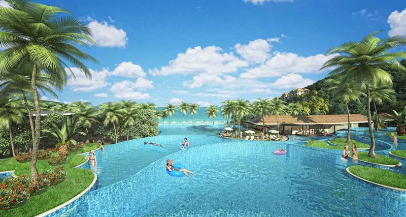 Bể bơi vô cực tại dự án sun premier village phu quoc resort mũi ông đội