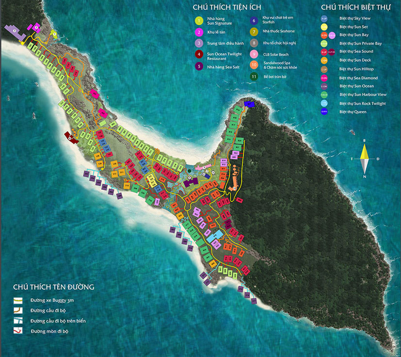 Mặt bằng quy hoạch đánh số dự án biệt thự Mũi Ông Đội Premier Village Phú Quốc