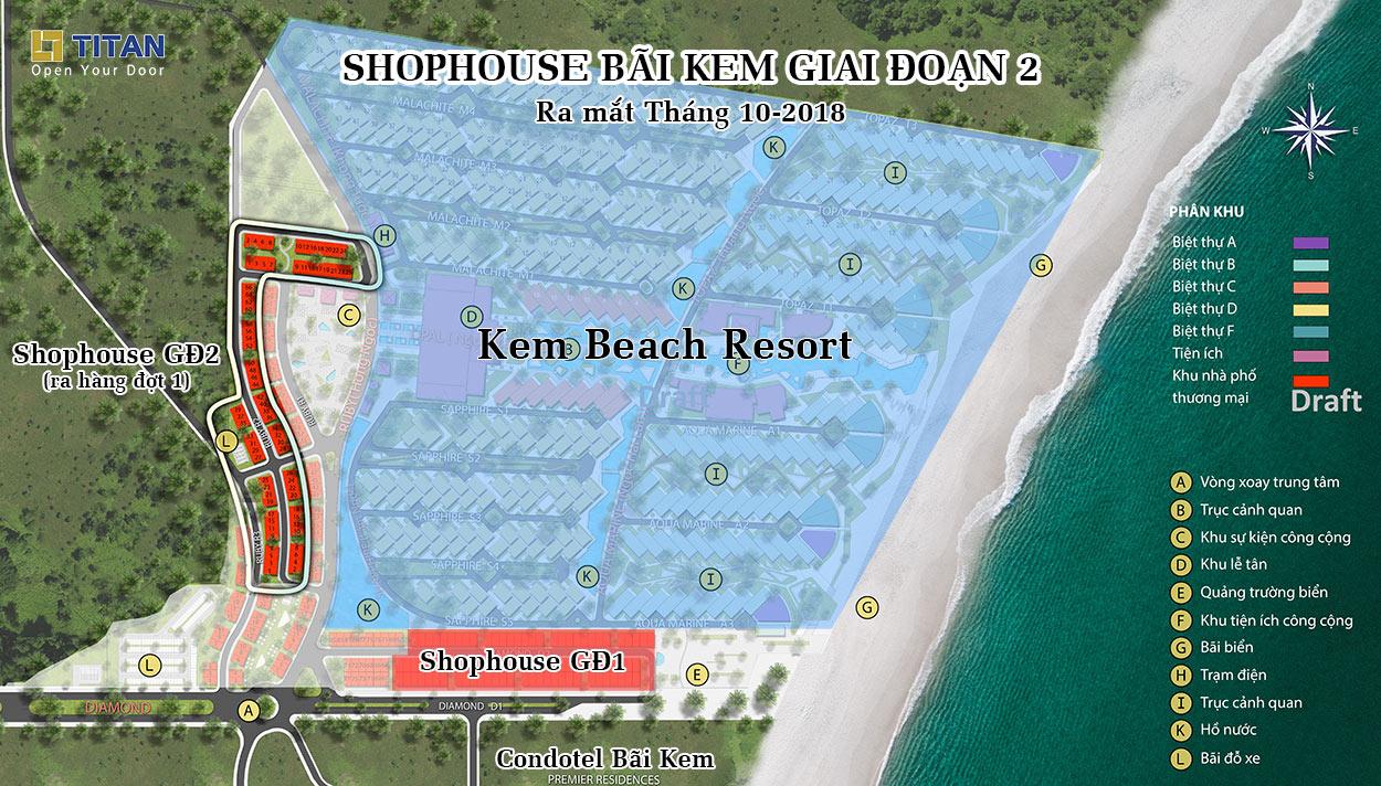 Quy hoạch tổng thể khu Shophouse Bãi Kem Phú Quốc Update tháng 10-2018