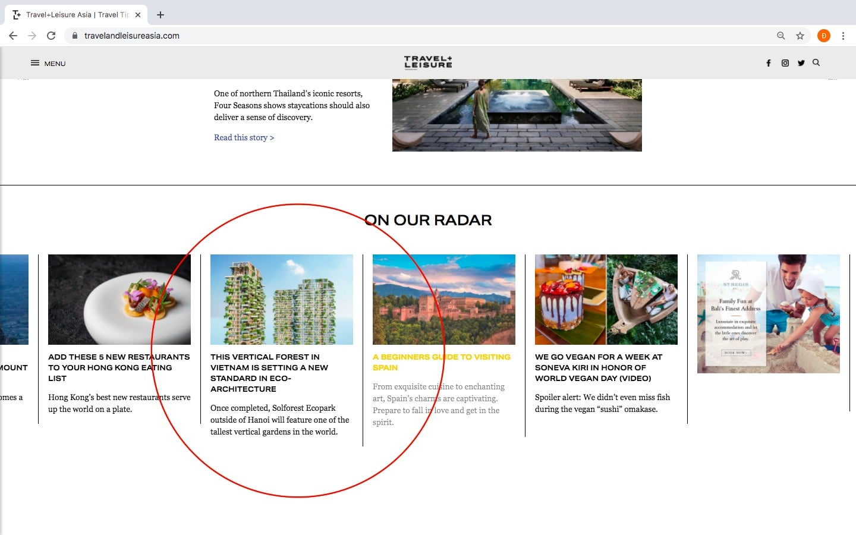 Tạp chí dành cho Sol Forest một vị trí nổi bật trên trang chủ