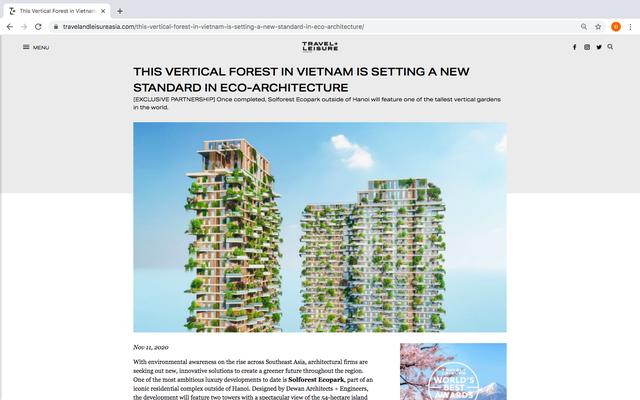 Sol Forest trở thành dự án BĐS đầu tiên tại Việt Nam được tạp chí danh tiếng của Mỹ Travel & Leisure đưa tin