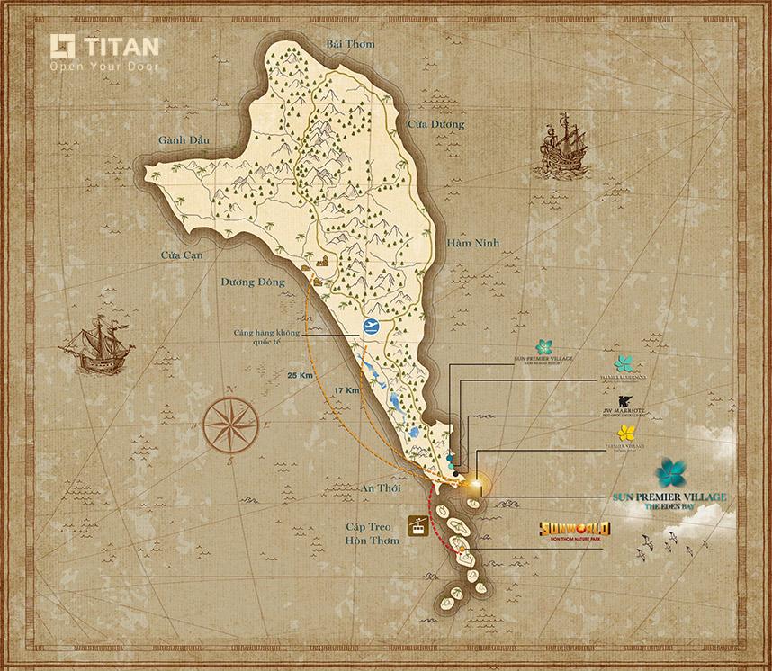 Sun Premier Village The Eden Bay - Bản đồ liên kết vùng The Eden Bay tại đảo ngọc Phú Quốc