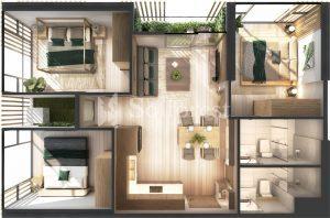 Ảnh mặt cắt 3D dự án Chung cư Sol Forest Ecopark - BM A 09
