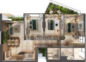 Ảnh mặt cắt 3D dự án Chung cư Sol Forest Ecopark - BM B S05A