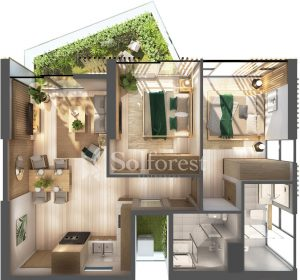 Ảnh mặt cắt 3D dự án Chung cư Sol Forest Ecopark - C S12A