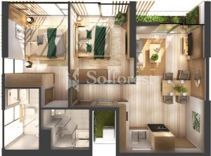Ảnh mặt cắt 3D dự án Chung cư Sol Forest Ecopark - D 12A