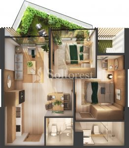Ảnh mặt cắt 3D dự án Chung cư Sol Forest Ecopark - D S16