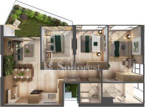 Ảnh mặt cắt 3D dự án Chung cư Sol Forest Ecopark 02
