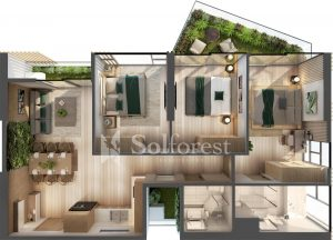 Ảnh mặt cắt 3D dự án Chung cư Sol Forest Ecopark 03