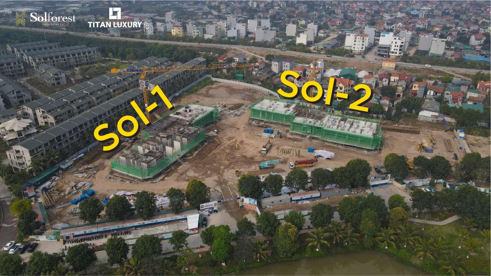 Tính đến tháng 2/2021, 2 tòa tháp xanh Sol Forest đang dần hoàn thiện 2 tầng shop thương mại khối đế