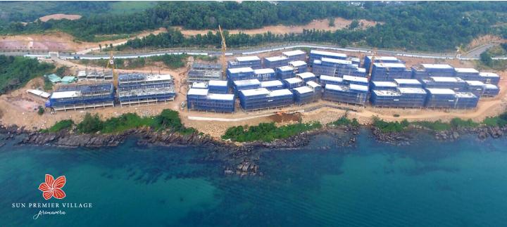 Công trường dự án Shophouse Địa Trung Hải nhìn từ phía biển