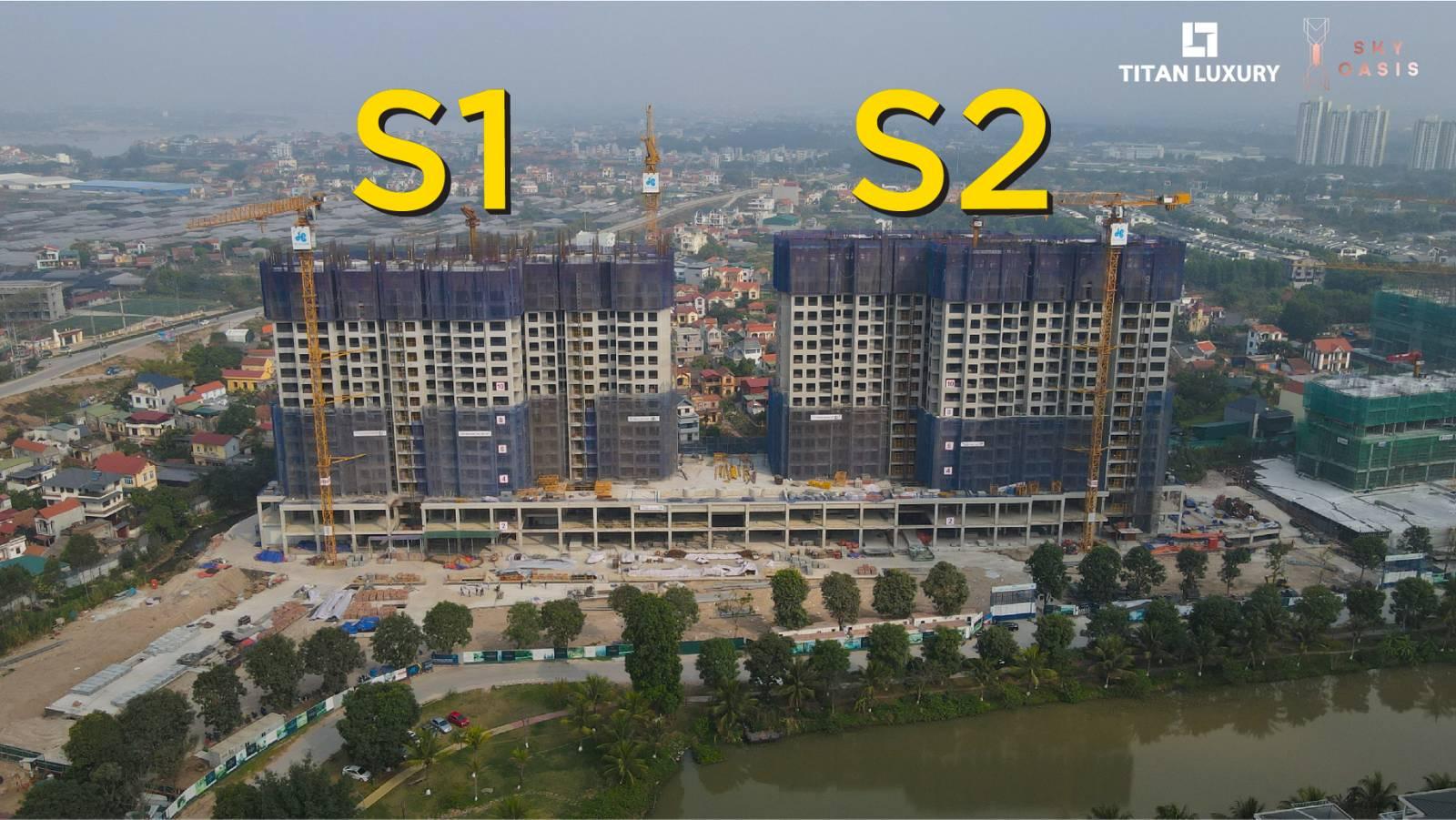 Tòa tháp đôi S1 - S2 đang dần hoàn thiện tầng 19