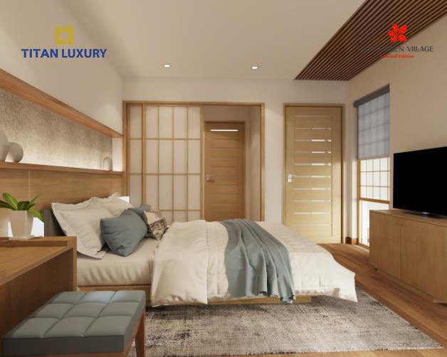 Nội thất tại Sun Onsen Village phân khu Yoko Villas được sử dùng hoàn toàn bằng gỗ