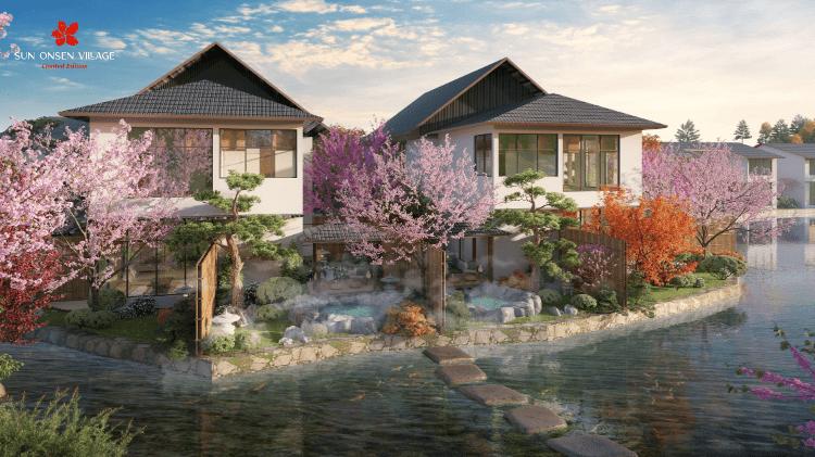 Sun Onsen Village sở hữu nguồn khoáng nóng thiên nhiên dẫn trực tiếp vào từng căn biệt thự