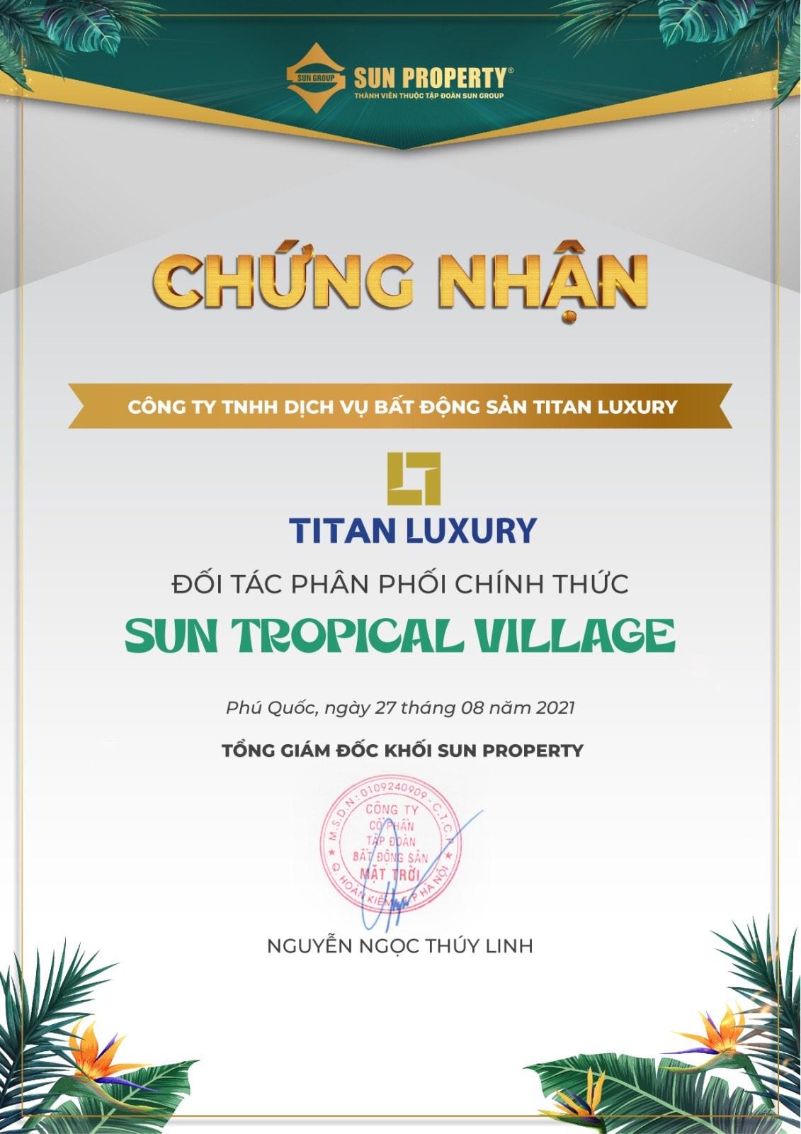 Titan Luxury tiếp tục đồng hành cùng Sun Group Nam Phú Quốc với dự án Sun Tropical Village